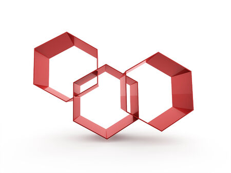 Red hexagonal cells isolated on white background photo