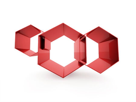 Red abstract hexagonal cell background isolated photo