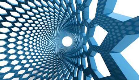 Blue hexagonal background tube rendered photo