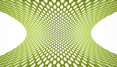 Green abstract hexagonal mesh background photo