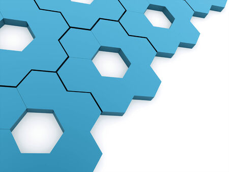 Blue hexagonal gears background rendered on white photo