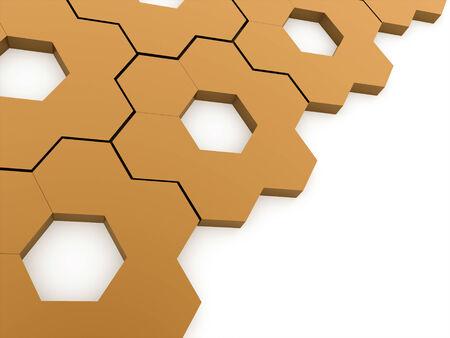 Orange hexagonal gears background rendered