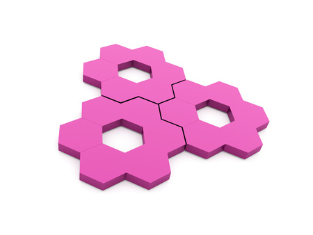 Pink hexagonal gears isolated on white background