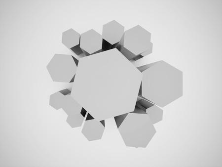 黒と白の六角形のビジネス アイコン表示