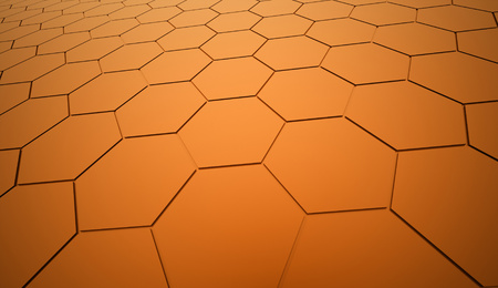 Orange hexagonal background rendered Stock Photo