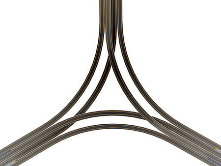fork in path: Highway crossroad on white background