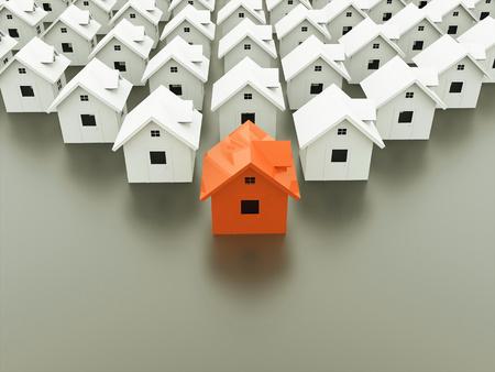 fila: Casas concepto de uno es de color naranja Foto de archivo