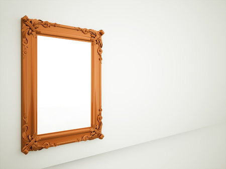 Mirror on orange vintage frame rendered Reklamní fotografie