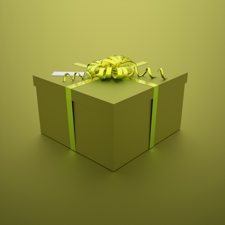 Christmas present on green background photo