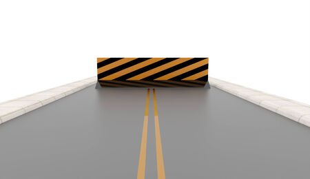 Road with road barrier rendered on white background Stock Photo