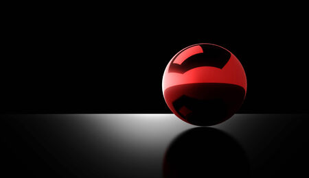 Red chrome ball rendered on dark background photo