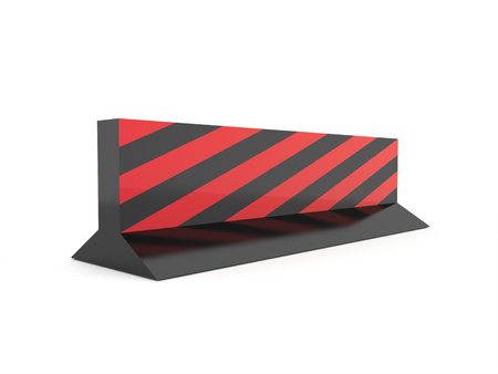 diversion: Red road barrier rendered isolated on white background