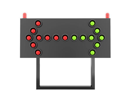 Red and green light arrows on road barrier photo