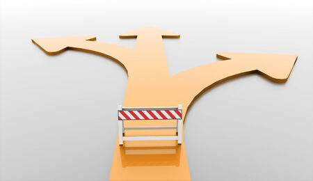 blockade: Orange road barrier with arrows rendered Stock Photo