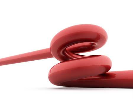 flexible business: Red spiral spring rendered on white background Stock Photo