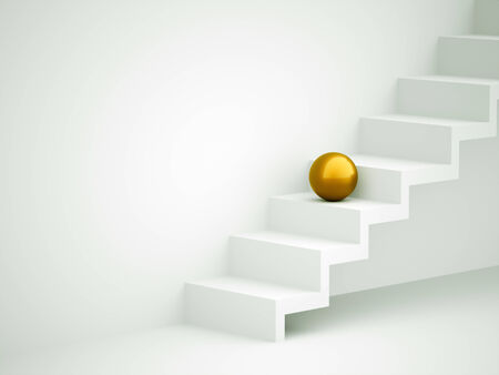 Yellow sphere on stairs rendered photo