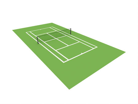 hard court: Green tennis court isolated on white background Stock Photo