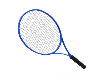 raquet: Blue tennis racket isolated on white background