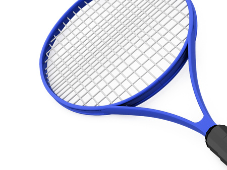 tennisball: Blue tennis racket on white background Stock Photo