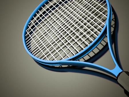 tennisball: Blue tennis racket rendered on dark background