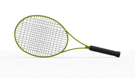 白い背景で隔離の緑テニス ラケット