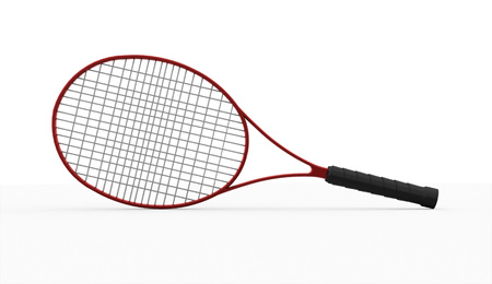 raquet: Red tennis racket isolated on white background