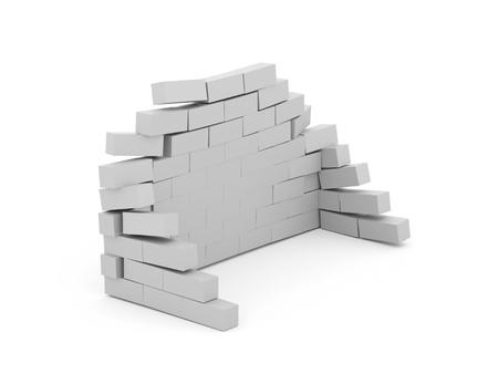 Silver crash brick wall isolated on white background