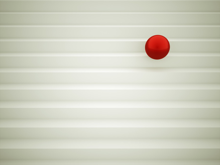 Single red sphere concept rendered on stairs photo