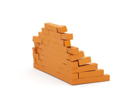 Orange crash brick wall isolated on white