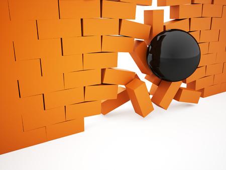 Orange crash brick wall witch sphere