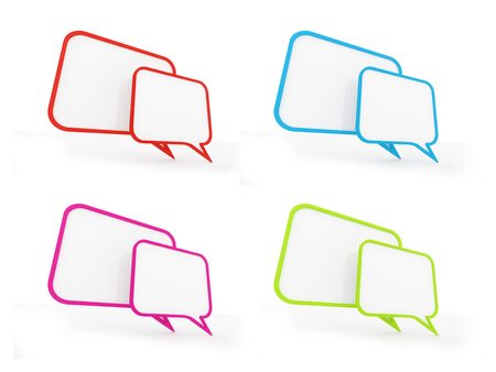 Four colored speech bubbles concept isolated on white background photo