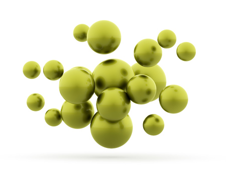 Many green abstract sphere concept rendered photo