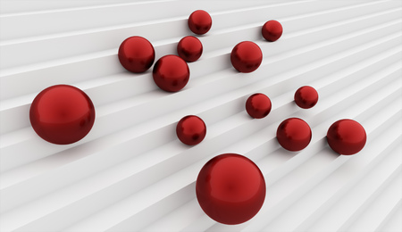 Many red spheres on stairs concept rendered photo