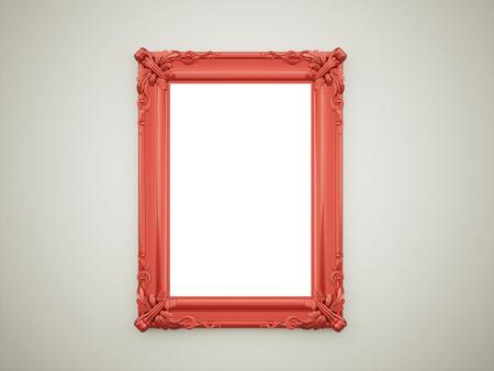 暗い壁上の赤のビンテージ ミラー フレーム
