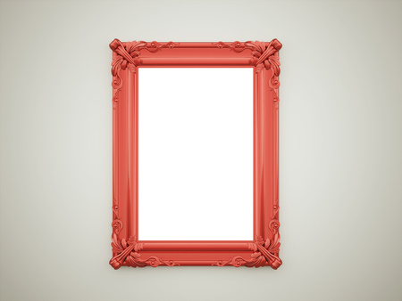 Red vintage mirror frame on dark wall