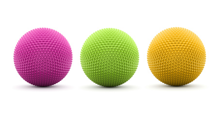 Three colored spheres rendered and isolated on white background photo