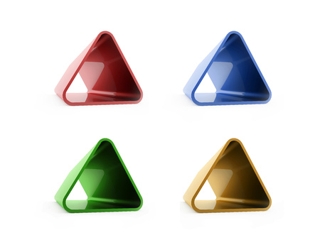 Colored four triangles isolated on white background photo