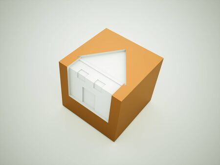 House concept on cube rendered photo