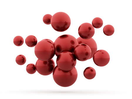 赤い球の概念表示分離 写真素材