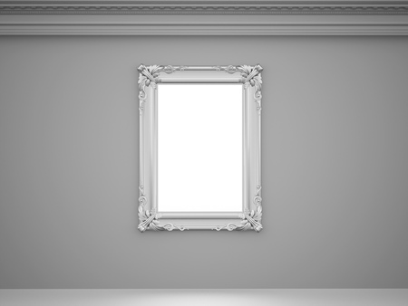 baroque room: Vintage mirror with silver frame on the wall rendered