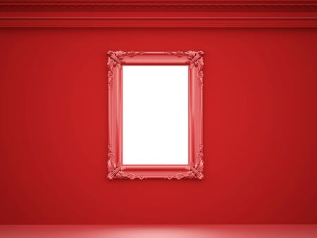 mirror and frame: Red vintage mirror frame on the wall rendered Stock Photo