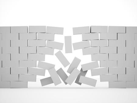 Silver demolition brick wall concept