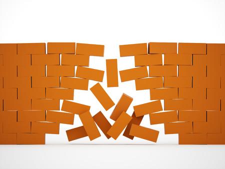 crashed: Orange crashed brick wall Stock Photo