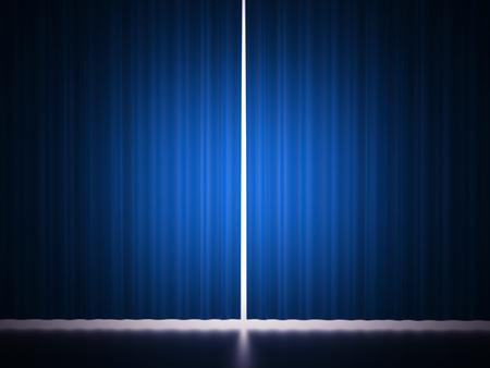 blue curtain: Blue curtain scene rendered Stock Photo