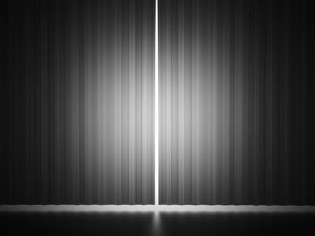 white curtain: Black and white curtain scene rendered Stock Photo
