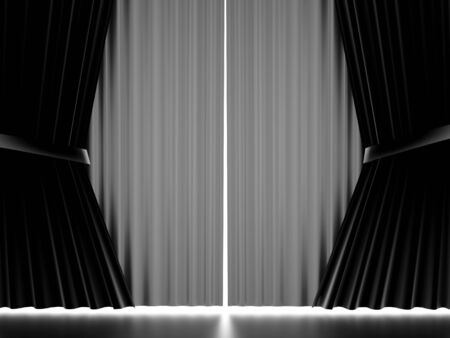 white curtain: Black and white curtain stage cloth rendered