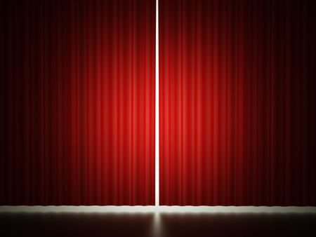 Red curtain concept rendered Reklamní fotografie