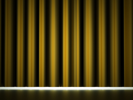 Yellow curtain drapes rendered Stock Photo