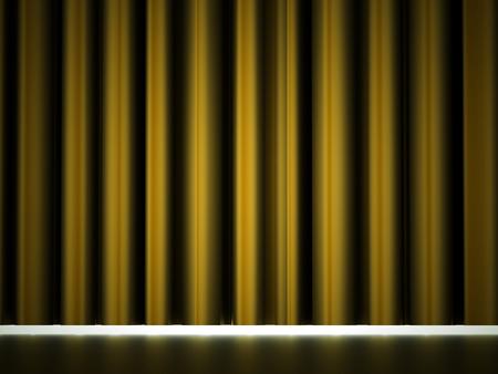 drapes: Yellow curtain drapes rendered Stock Photo