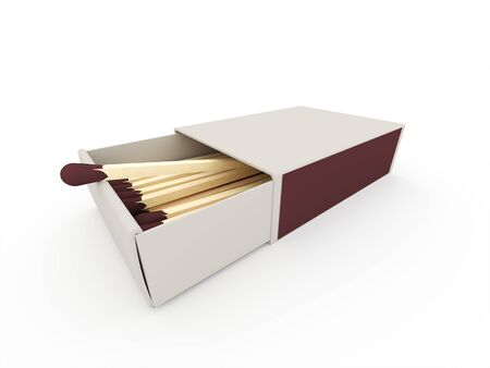 box of matches: Matches on box rendered isolated on white background